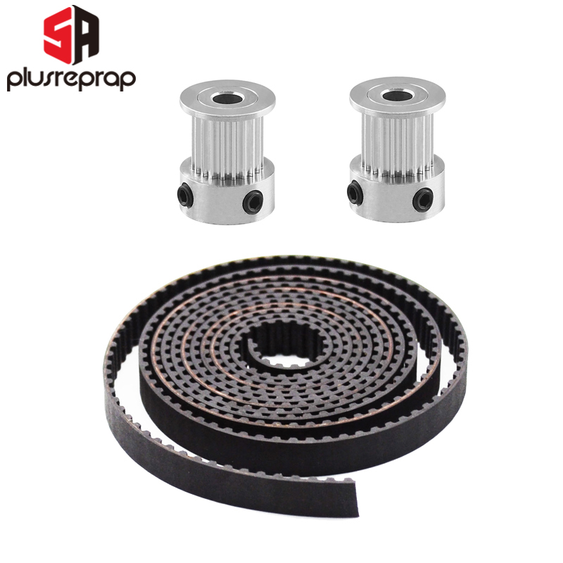 GT2-10mm Open Timing Belt 10mm Width GT2 Fiberglass Belt Rubber 2 Meters With 2 Pulley 5mm Bore 20 Teeth 3D Printer Parts