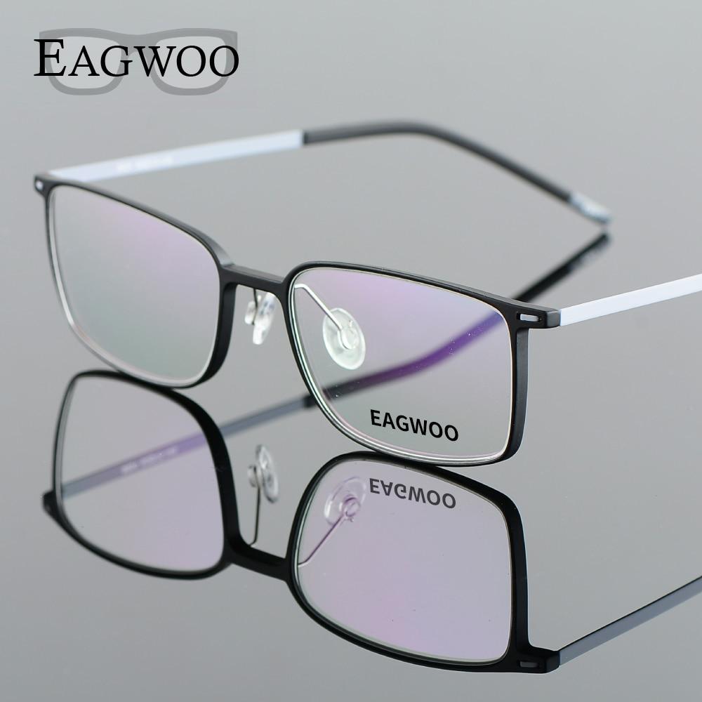 EAGWOO EMS Pure Titanium Eyeglasses Girl Men Full Rim Optisk Frame Prescription Spectacle Designad Myopi Eye Glasses 890012
