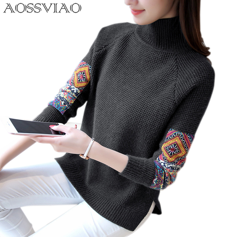 AOSSVIAO Turtleneck Winter Sweater Women 2017 Knitted Pullover Female Jumper Tricot Pullover Women s Patchwork Tops