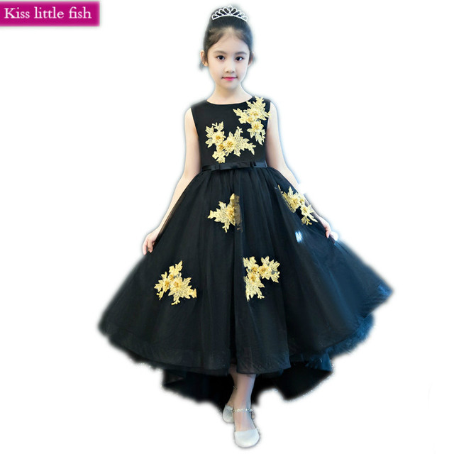 56b2be3ca7559 US $54.32 15% OFF|Free shipping New Black Long tail Pageant dresses for  girls Flower girl dresses for party-in Flower Girl Dresses from Weddings &  ...