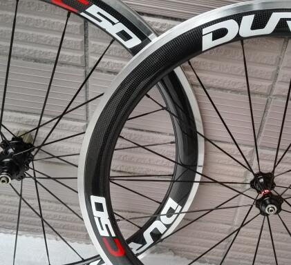 chinese oem decal 700C ace carbon clincher road bike wheels 50mm with Alloy Brake surface
