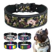 Collar reflectante de nailon para perro, ajustable, medianos y grandes para perros, Pitbull, pastor alemán S M L