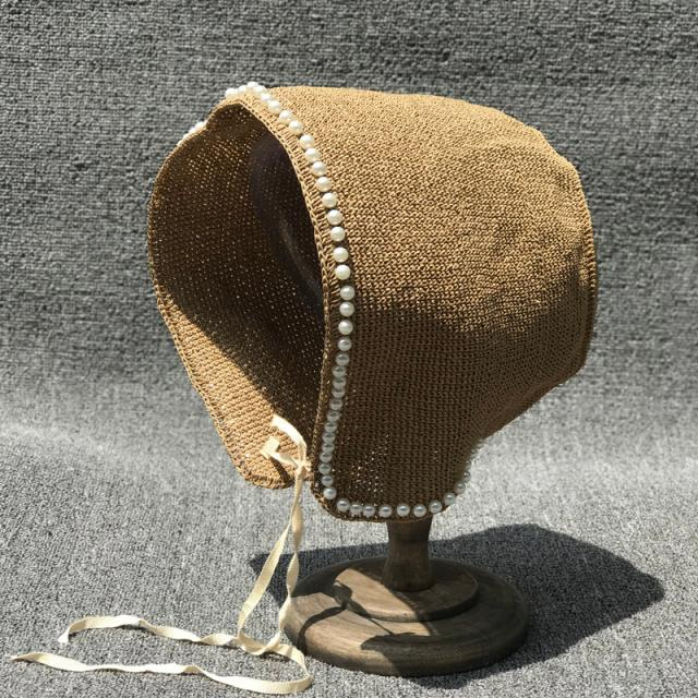 01905-xintao-pearl Summer Handmade Paper French Lolita Countryside Restoring Ancient Ways Lady Sun Cap Women Leisure Hat