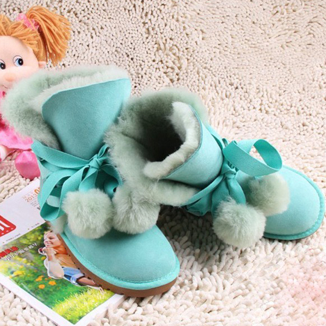2016 Зима Бренд 100% овчины обувь для девочек ребенок реального шерсть снегоступы дети обувь детская мода сапоги