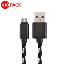 10x Micro USB Fast Charger Data Sync Cable Nylon Braided Cord for Samsung LG HTC USB universal nylon housing usb male to micro usb data sync