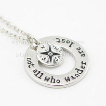 "2015 Fashion Wanderlust handstampe Jewelry Travelers Necklace Wanderlust "" Not All Who Wander Are Lost"" Inspirational Jewelry(China)"