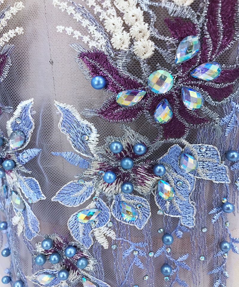 1 Piece Exquisite 3D Beaded Pearl Mesh Lace Applique With Rhinestone Sew On Lace Collar Accessories Sewing Trims Fabric Patch in Lace from Home Garden