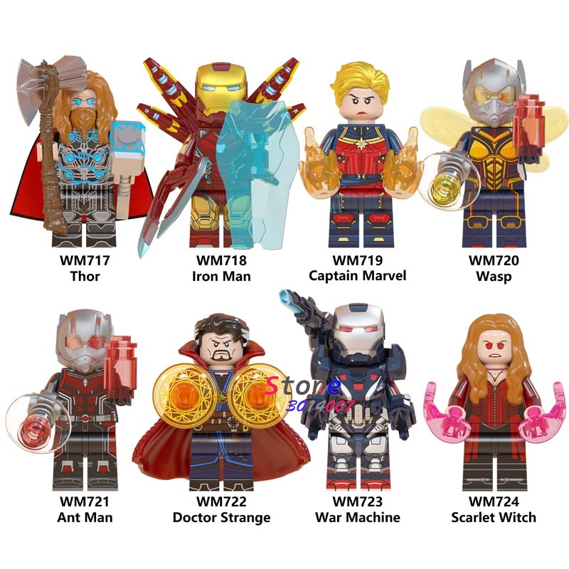 Single Avengers Endgame Doctor Strange Thor Ant Man Scarlet Witch Iron Man Captain Marvel War Machine Building Blocks Kids Toys