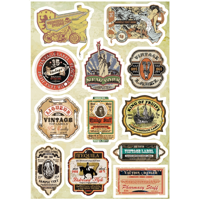 12x Sticker Vintage Retro A4 Size Phone iPad Tablet Laptop Luggage Skateboard Bicycle Motorcycle Auto Car Styling Decal fonksiyonlu rende