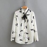 Nieuwe 2018 chiffon vrouwen blouse Boog blusa animal print shirt lange mouw wit tops