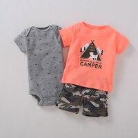 3pcs Baby Boys Sets Summer Orange Dog T Shirt Grey Car Short Sleeves Bodysuits Camouflage Shorts