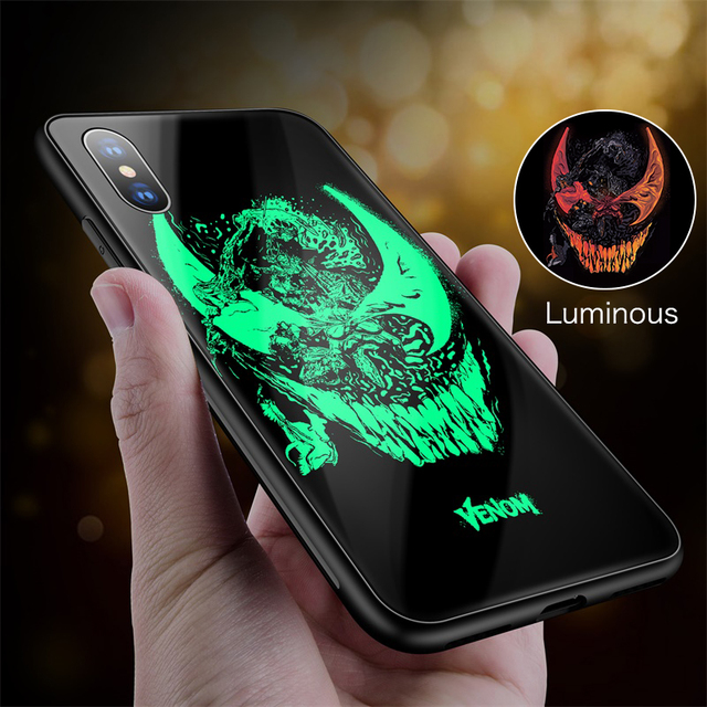 Marvel Venom Iron Man Batman Luminous Glass Phone Case For iPhone XSmax XR XS X 8 7 6s 6 Plus Avengers SpiderMan Cover