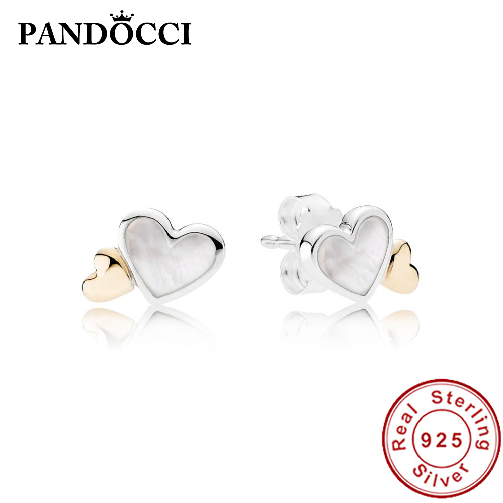 PANDOCCI 100% 925 Sterling Silver New 1:1 290697MOP LUMINOUS HEARTS Perforated EARRING STUDS Valentines Day Temperament GiftPANDOCCI 100% 925 Sterling Silver New 1:1 290697MOP LUMINOUS HEARTS Perforated EARRING STUDS Valentines Day Temperament Gift