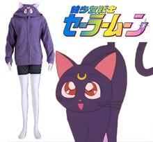 Envío Libre Sailor Moon Luna Gato Negro Capa de Anime Cosplay Traje
