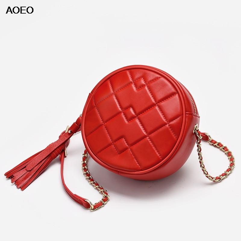 AOEO Women Shoulder Messenger Bag Round Bag Female Handbag 2019 Genuine Leather Sheepskin Tassel Chain Small