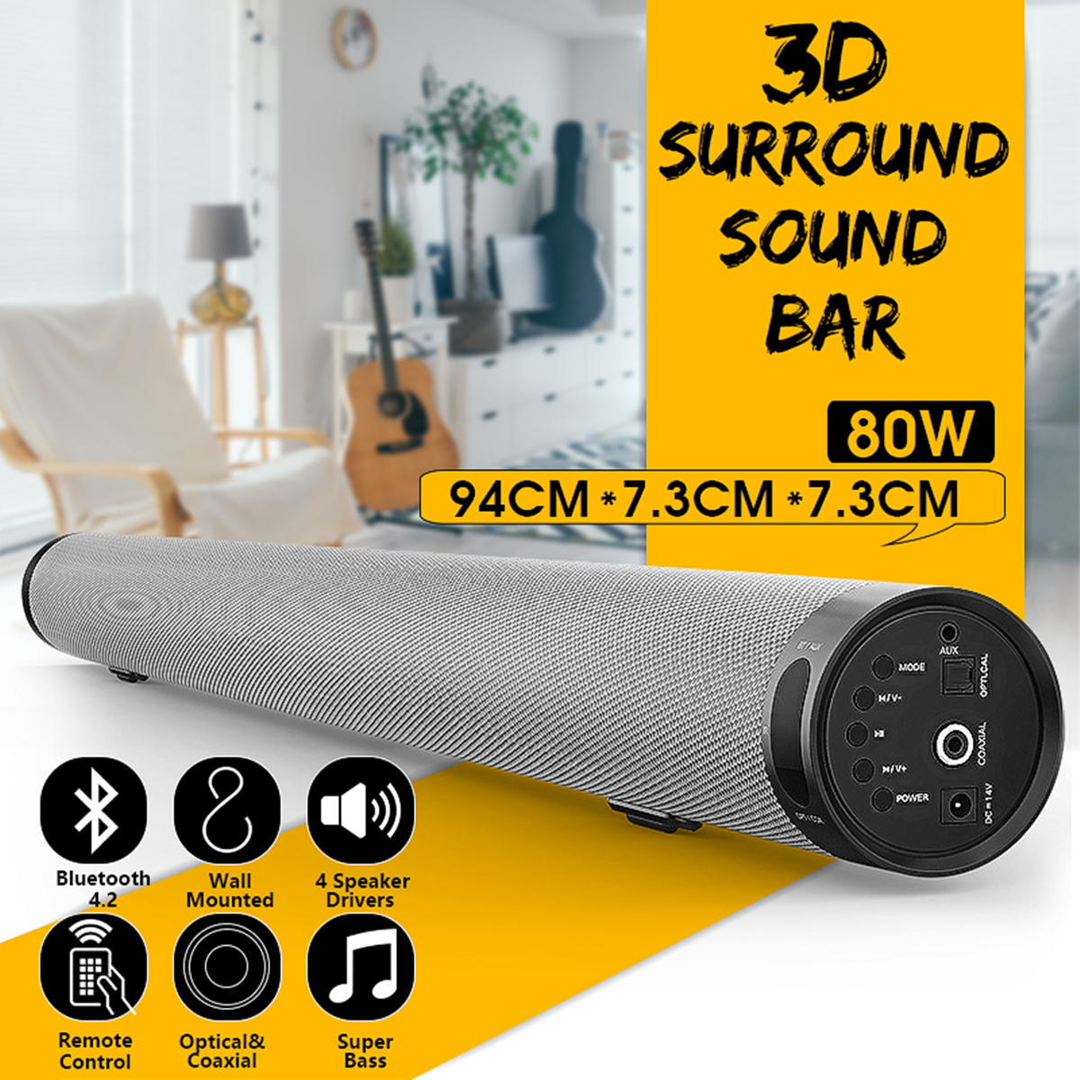 Bluetooth Soundbar TV Wireless Speaker Metal Long Cylindrical Stereo Audio for Home PartyBluetooth Playback Wall Soundbar new gbj free shipping home aluminum medical cabinet multi layer medical treatment first aid kit medicine storage portable