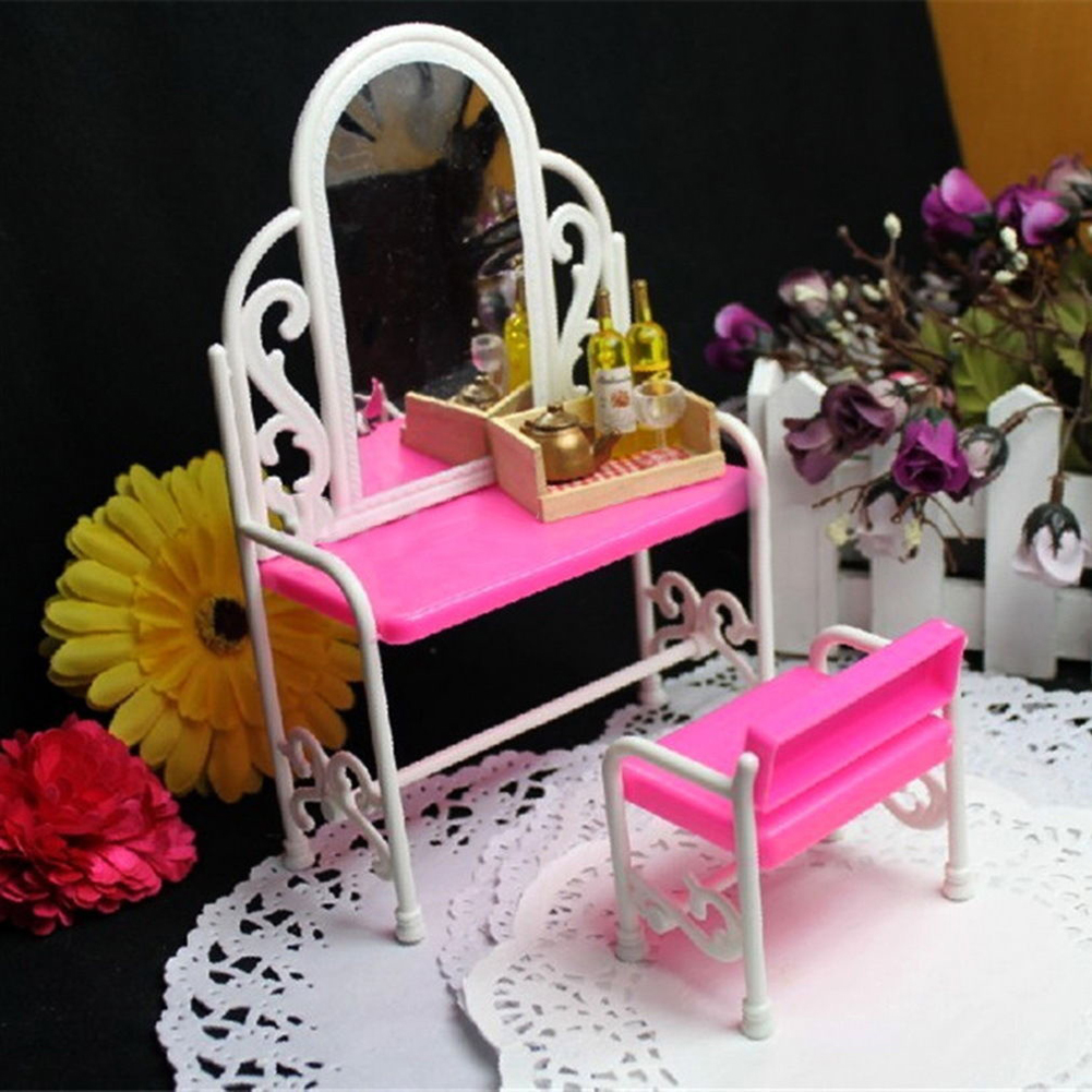 Dollhouse Furniture Girls Children Cosmetics Toy Dressing Table Sets Accessories Pink Doll Make-up Toys Christmas Girl Gift pink sofa floor lamp clock set dollhouse living room furniture accessories tee table for barbie kurhn ken doll girls gift