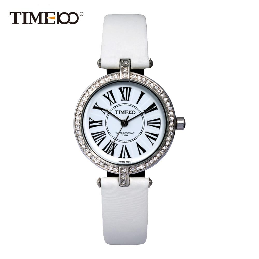 Time100 Fashion Retro Women Watches White Leather Strap Quartz Watches Diamond Roman Numerals Dial Ladies Casual Wrist Watch  pure white dial face ziz time watches navy