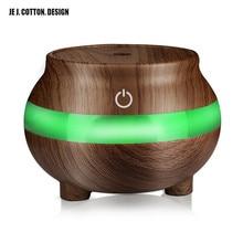 JE J. COTTON. DESIGN Wood Grain 300ML Air Humidifier LED Lamp Aroma Diffuser Essential Oils USB Portable  Colorful