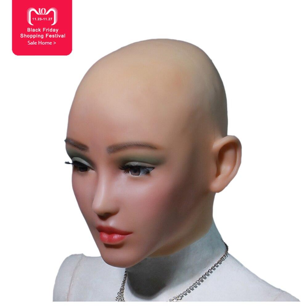 AN-H-Elsa ange visage silicone réaliste femelle peau Halloween de danse mascarade cosplay drag queen crossdresser mâle à femelle