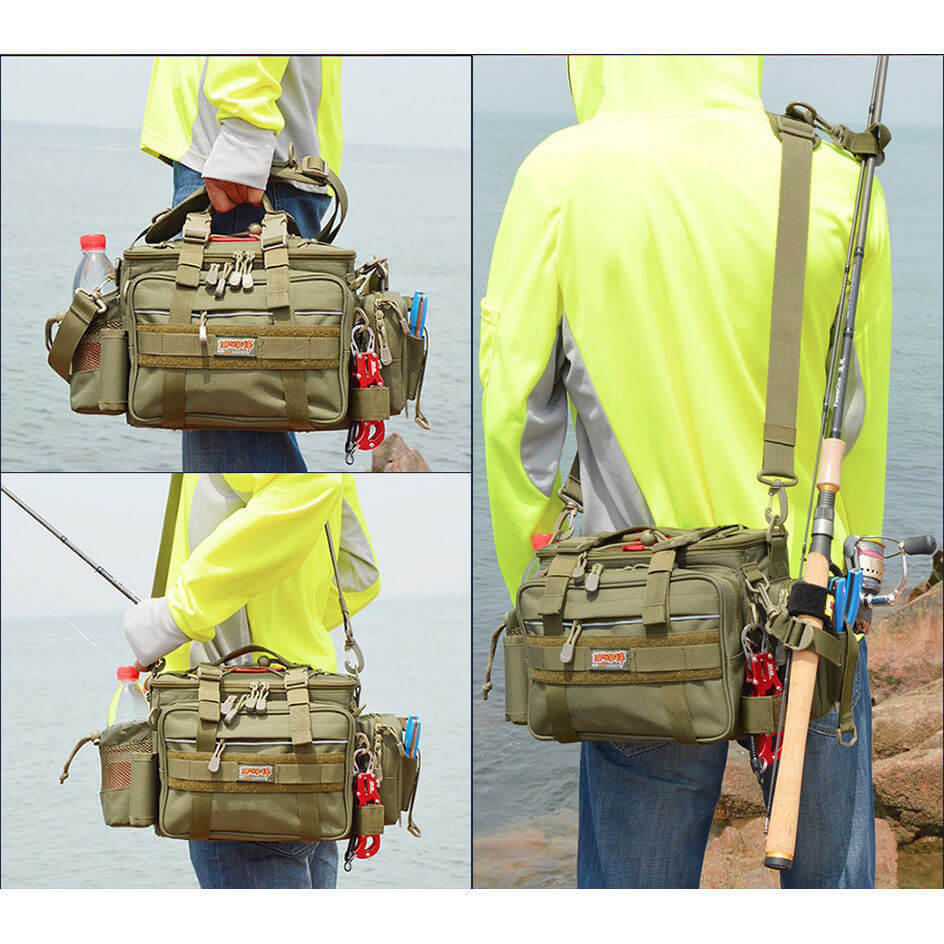 Fishing Tackle Bag Accessories Lure Bag Multi-Pocket Single shoulder Bag Gear Box Case Storage 40*19*22cm All Fishing Tackle new