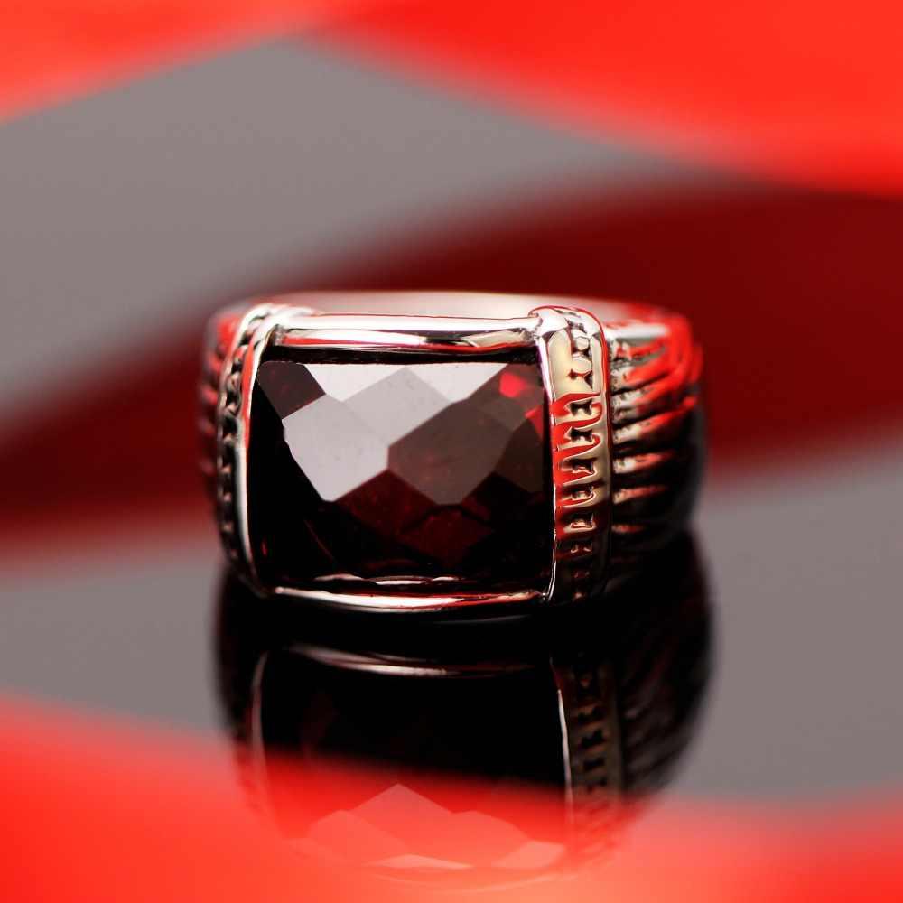 โมเสคหินทรายสีฟ้าทับทิมสีแดงสแตนเลสสตีล Vintage เครื่องประดับชายแหวน Rock แหวนสำหรับงานปาร์ตี้