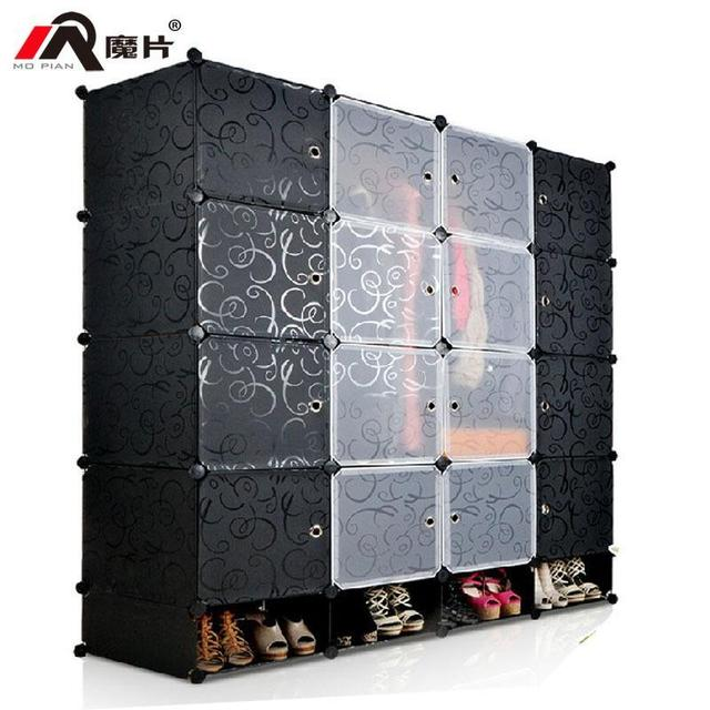 YoHere bedroom furniture plastic storage rack clothes wardrobe DIY ...