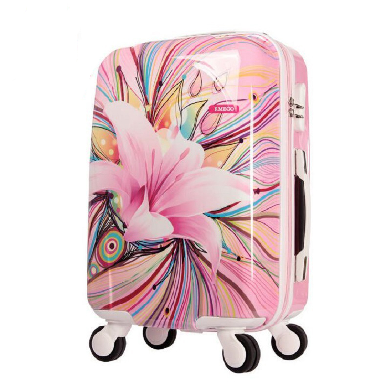 LeTrend Korea Fashion Rolling Luggage Spinner Women Suitcase Wheels Trolley Case 20 inch ABS+PC Cabin Travel Bag password Box 2024inch universal wheels luggage abs mute rolling travel bag password lock trolley suitcase colorful hand pull box