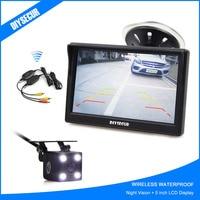 DIYSECUR Wireless Waterproof HD Reverse Backup Car Camera LED Night Vision + 5 inch LCD Display Rear View Monitor Car Monitor