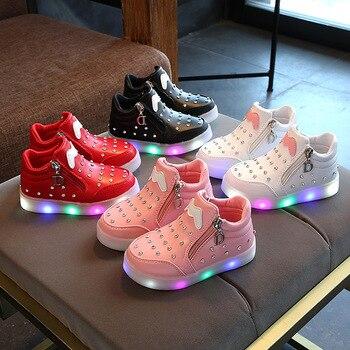 2019 봄 빛나는 여자 스 니 커 즈 바구니 led 어린이 조명 신발 소년 조명 krasovki 빛나는 운동 화 크기 21-30