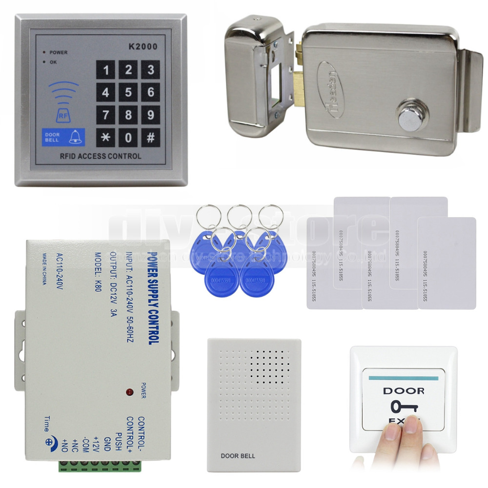 DIYSECUR Rfid 125KHz ID Card Reader Keypad  Access Control System Kit Set + Electronic Lock + Power Supply + Door Bell