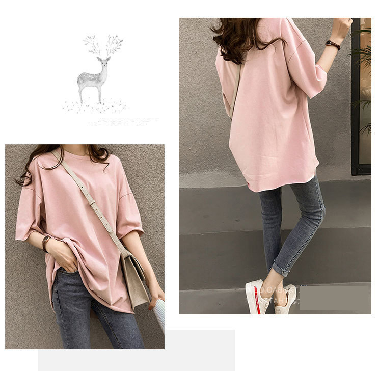 Candy Color Short Sleeve Loose T-Shirts Girls Summer 19 New Cool O-Neck Boyfriend Student Women T-Shirt Lady Tops Plus Size 31