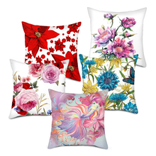 Fuwatacchi Oil Paint Flower Printed Cushion Cover Rose Lily Sunflower Pillow Covers for Home Office Sofa Chair Decor Pillowcases