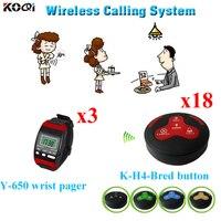 Sistema de Chamada sem fio Garçom Sistema de Paginação de 3 peças Y-650 Relógio De Pulso Pager E 18 peças K-H4 Chamando Botões