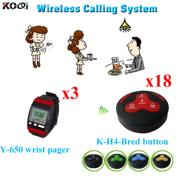 Wireless Calling System Waiter Paging System 3 pieces Y-650 Wrist Watch Pager And 18 pieces K-H4 Calling Buttons
