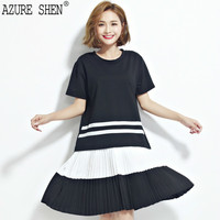 AZURE SHEN 2017 Fashion New Simple Black White Stitching Loose BIG Dress Female Organ Pleated