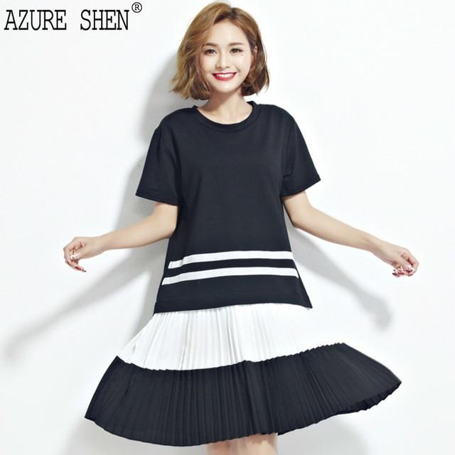 [Azure,] Мода 2017 г. новый простой черный, белый цвет шить свободно большие платье женский орган плиссе Подол оптом женские W0070