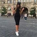 As mulheres Se Vestem 2016 Nova Elegante Bodycon Bandagem Vestidos de Festa À Noite Curta manga O pescoço Na Altura Do Joelho Magro Push Up Hip Lápis Vestido