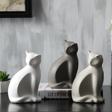 Minimalist ceramic lucky cat statue home decor crafts room decoration porcelain animal figurine maneki neko wedding