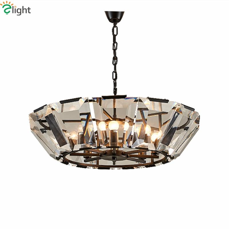 RH American Loft Villa Luxusní Squre Crystal LED E14 Lustr Hotel - Vnitřní osvětlení