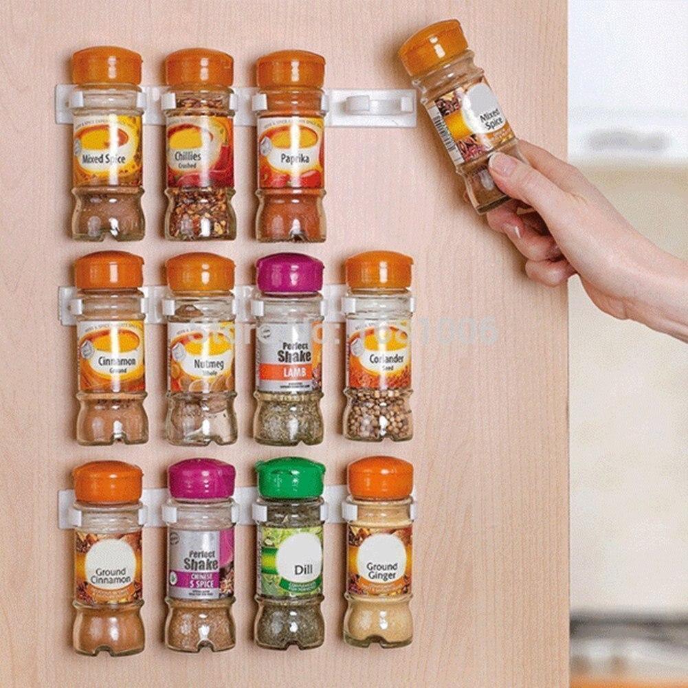 Wall Mount Ingredient Spice Bottle Rack Simple Bottle-mouth Clip Shelf For Kitchen Articles Seasoning Bottle Shelf