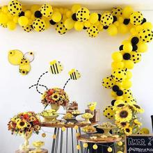 metable 100 Pcs 10 Inch Yellow, Yellow Polka Dot Balloons Black for Bee Party, Baby Shower, Birthday Party