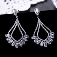 Thời trang Hình Bầu Dục Màu Trắng CZ Drop Hoa Tai Vàng Màu & Rhodium Plated Dài Dangle Earrings Trang Sức cho Phụ N