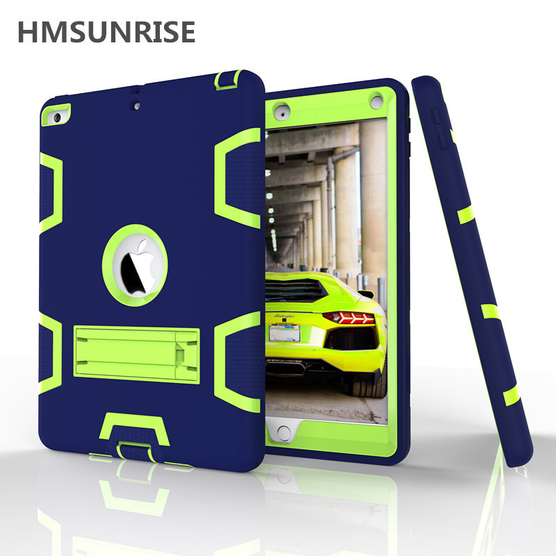 Hmsunrise Kids safe Shockproof Case For ipad 9.7 2017 TPU Hard protection Stand Cover full Protection A1822 A1823