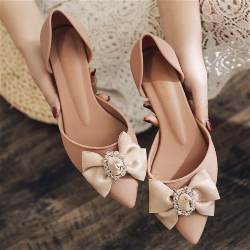 New pointed high heeled fashion womens shoes diamond buckle wedge with soft bottom casual flower sandals summer jelly shoesMiddle Heels   -