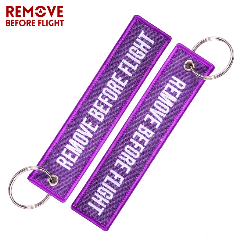 100 PCS LOT Wholesale Keychain for Cars Customized Key Chains Purple Embroidery Key Fobs REMOVE BEFORE