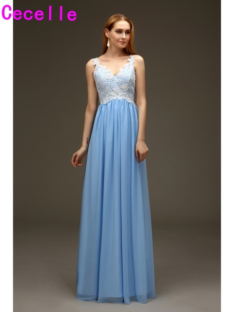 2019 Real Blue Beach Long Bridesmaids Dresses V Neck Tank Straps Lace Top Formal Women Wedding Party Gowns Country Custom Made