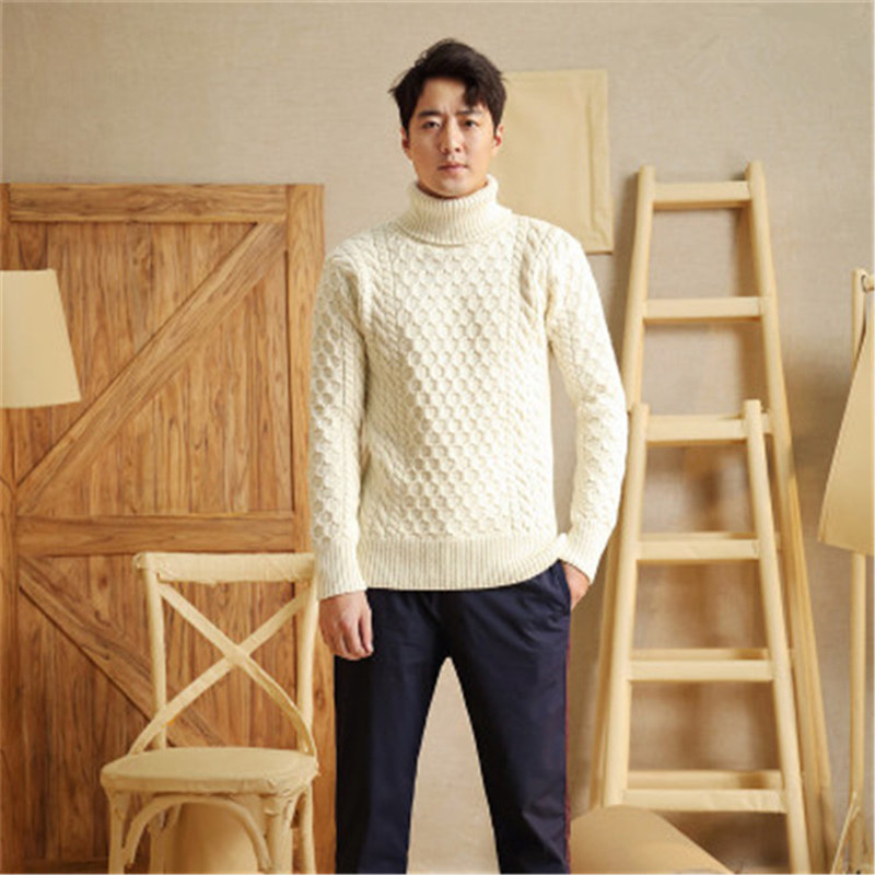 New Arrival 100% Hand Made Pure Wool Turtleneck Knit Men Fashion Solid H-straight Pullover Sweater One&over Size