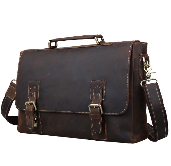 "Crazy Horse Genuine Leather Briefcases 14"" Laptop Bag Shoulder Bag Fashion Vintage Handbag Dark Brown Messenger Bags-in Crossbody Bags from Luggage & Bags    2"