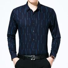 Más el Tamaño de Rayas Camisas de Los Hombres 2017 de Los Hombres de Tendencias de Diseño de Moda Camisa Hombre Slim Fit Impresión de Algodón Para Hombre de Manga Larga camisas